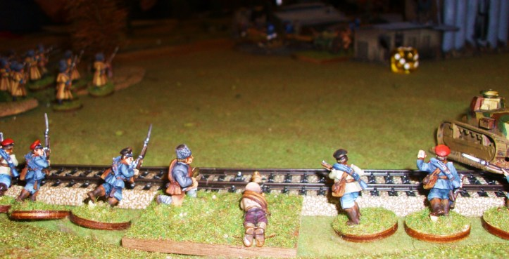 RCW Militia (Whites, my unit) cross tracks