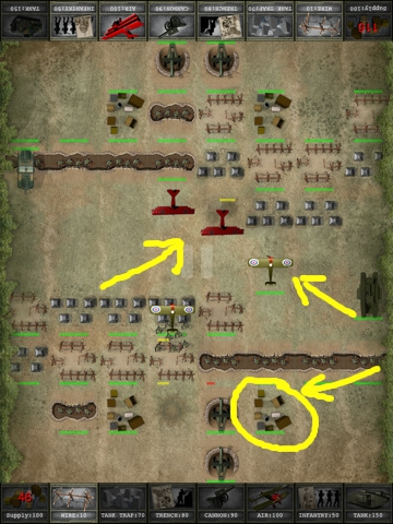 battle in progress showing Supply depots (circled) and aeroplanes (arrows)