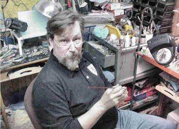 Hairy Haggis in his shop