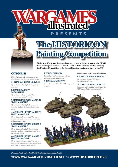 Historicon Painting Contest Flyer, run by WARGAMES ILLUSTRATED