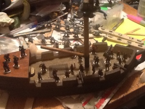 The Bucket is one of the largest ships I'll have on the table.  About the size of the Seng's Junk