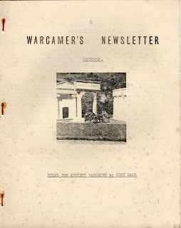 Cover of a a very ancient WARGAMES NEWLSETTER, dating back to the early 60s.