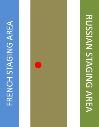 Borodino Battlefield.  The Blue line of tables is the French set up area, the Green line of tables is the Russian.  Troops would enter the center battlefield (brown) from these locations.  The Red spot was my approximately location in the center.