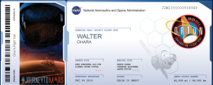 My boarding pass to Mars.
